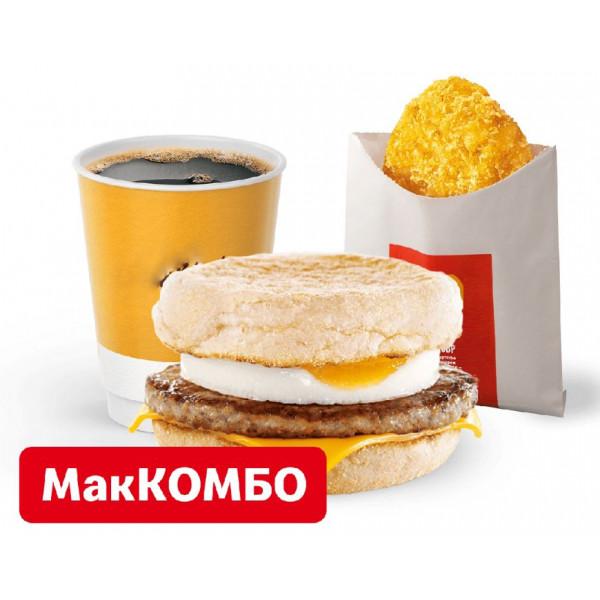 МакМаффин с яйцом и свиной котлетой МакКомбо в Макдональдс